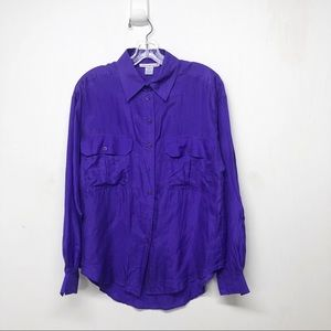 Vintage Purple 100% Silk Button Down Shirt Top